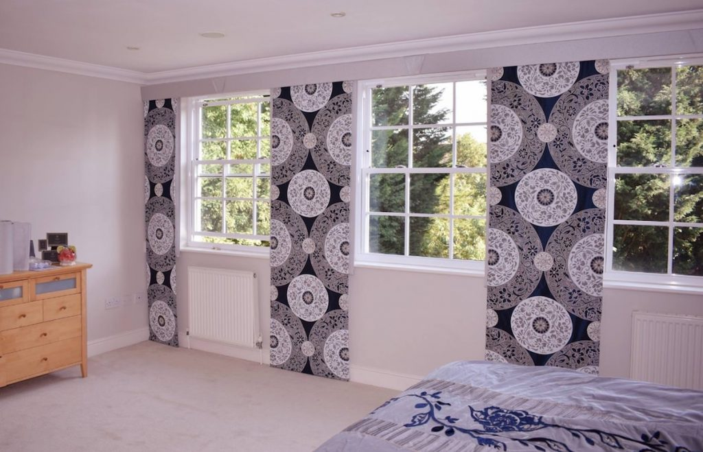 Black and White Bespoke Curtain Panels Blind company Nottingham