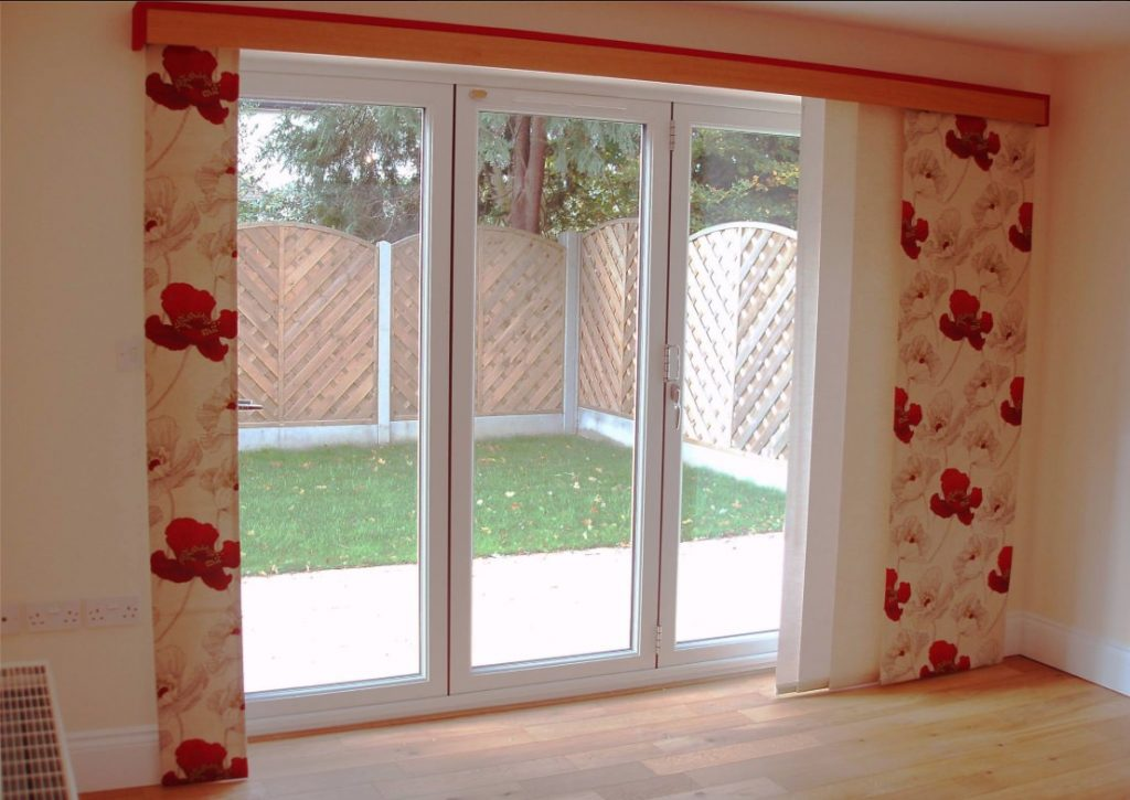 Red Flower Curtain Panel Blind company Nottingham